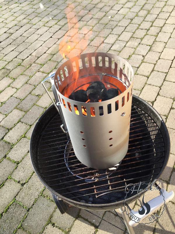 Starter briquettes warming up