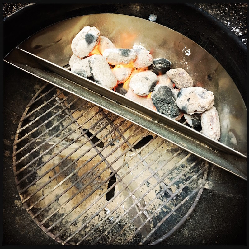Slow 'N Sear - pour briquettes into the grill