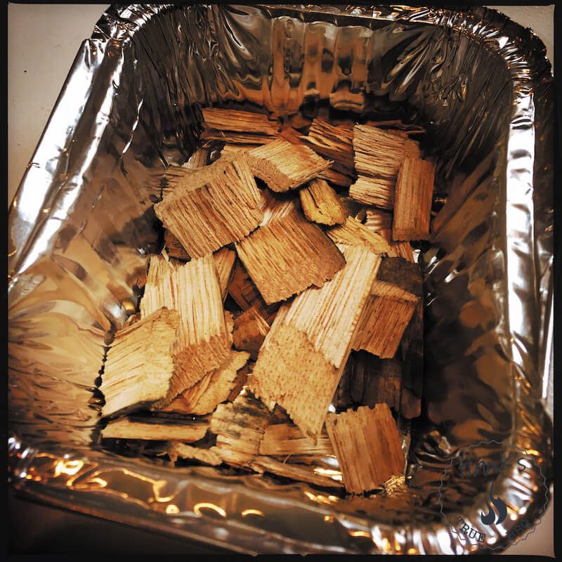 Wood chips in an aluminum pan
