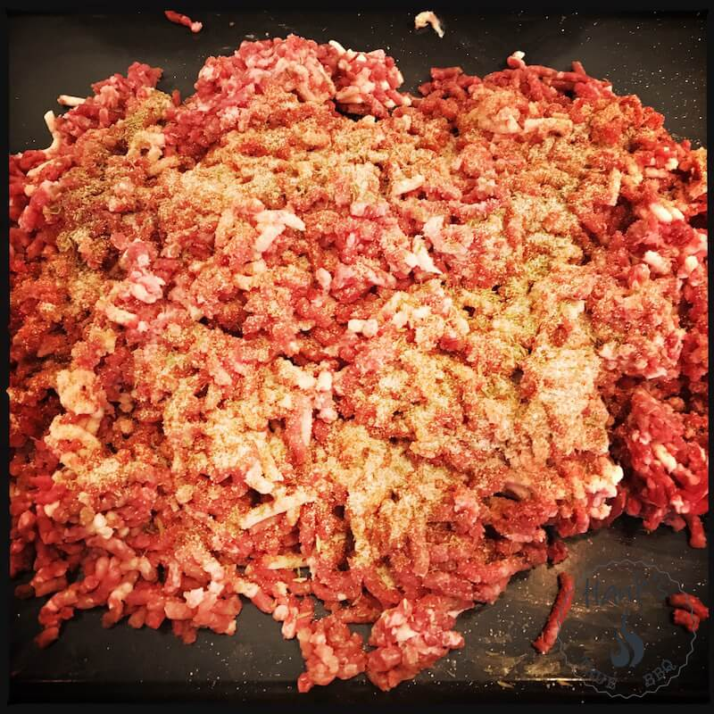 Ground beef sausage meat with herbs added