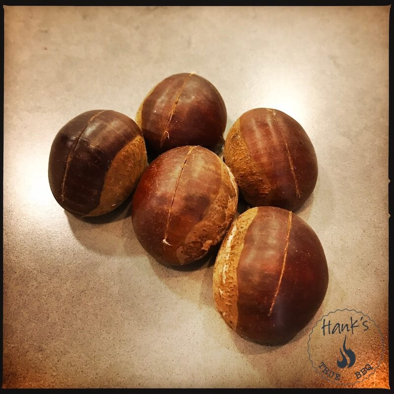 Chestnuts with cut shell