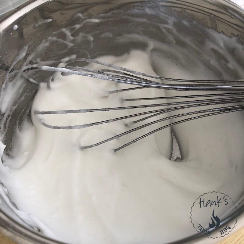 Egg whites whisked for Creme Toum