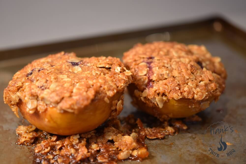 Grilled Peach Blueberry Crumble