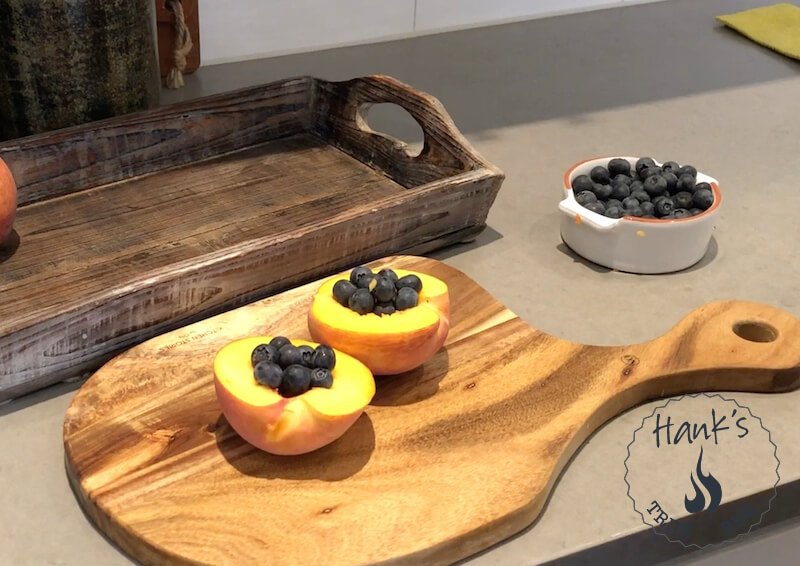 Peaches with blueberries