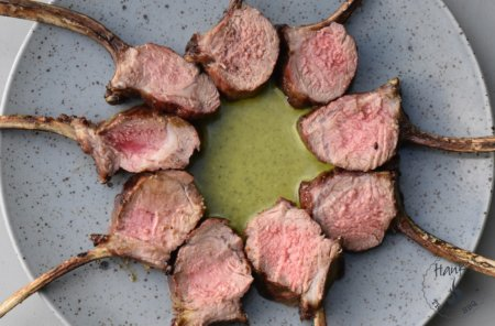 Lamb racks with basil dip