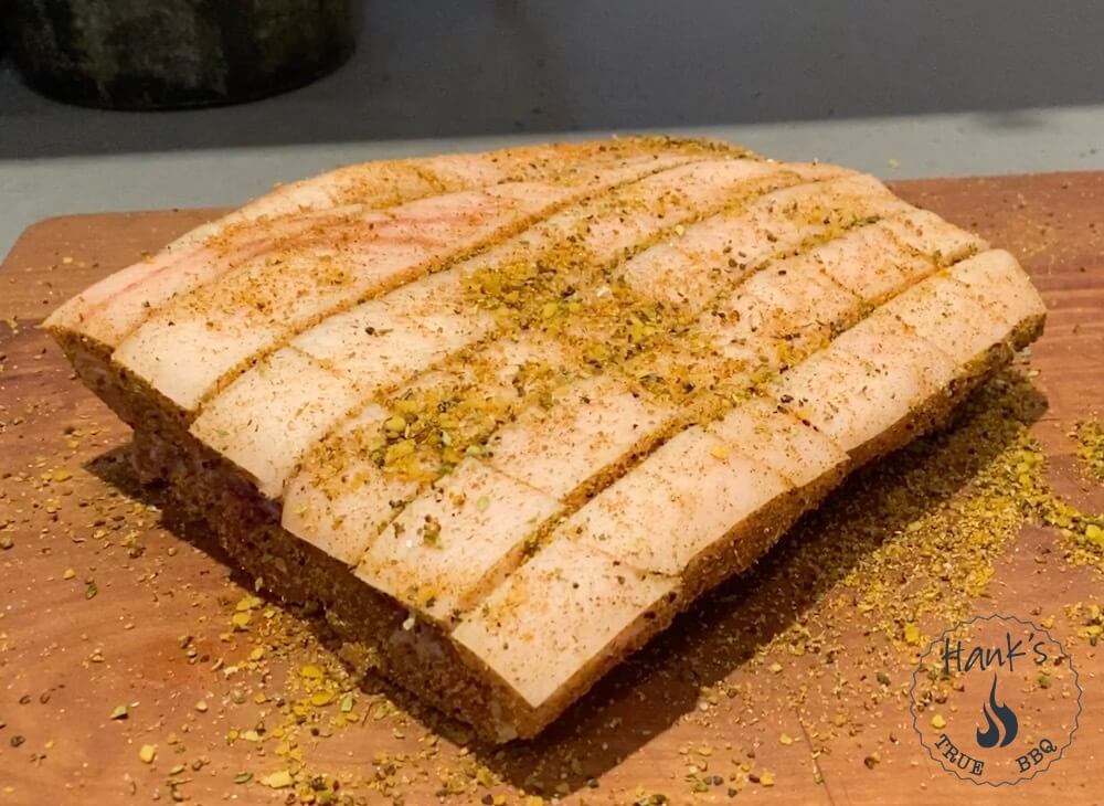 Pork belly with rub applied