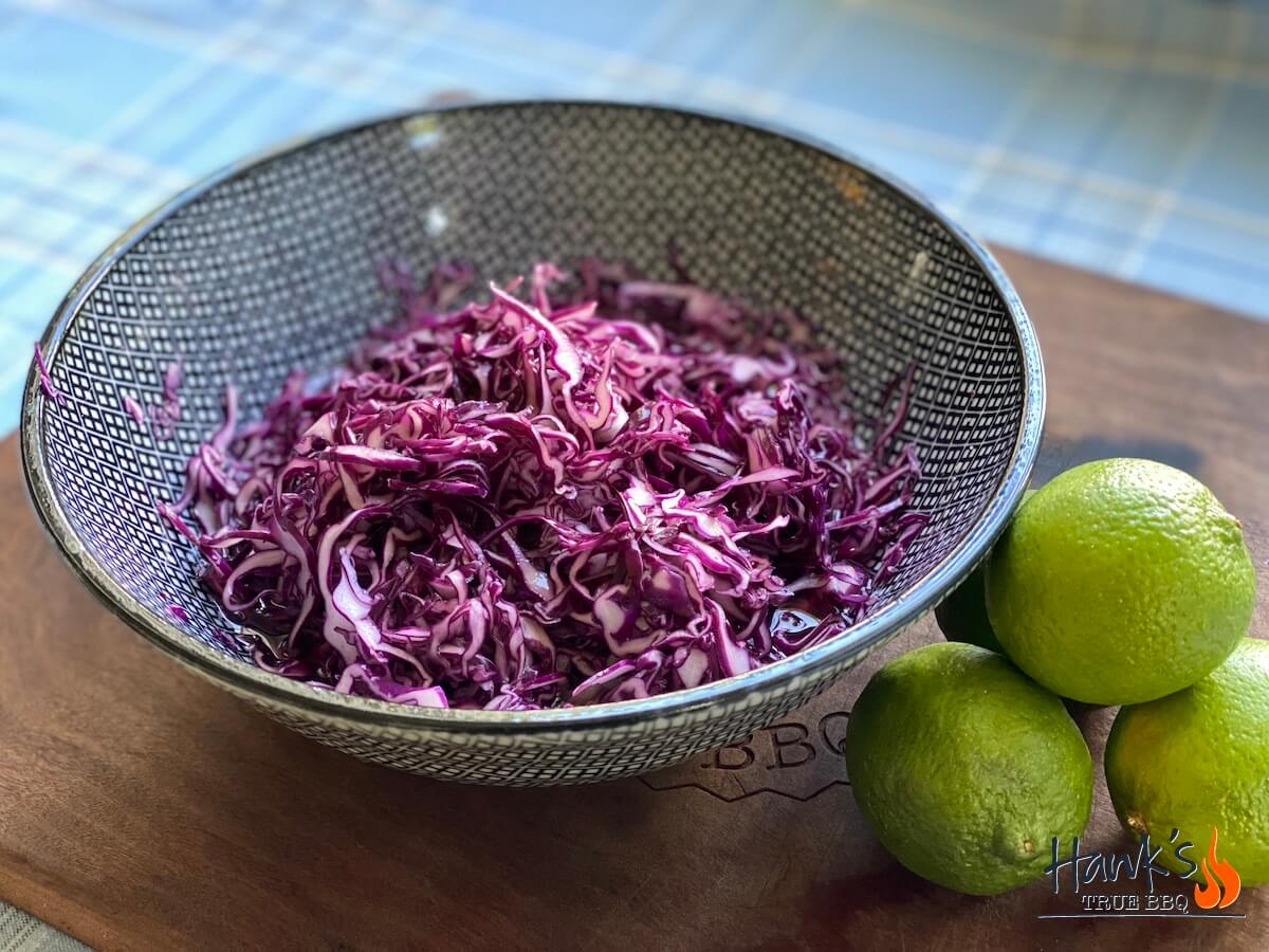 Asian style red kale slaw