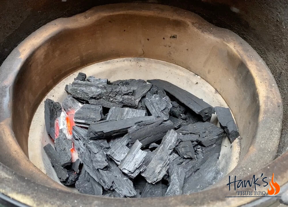 How to fire up a Big Green Egg - glowing embers