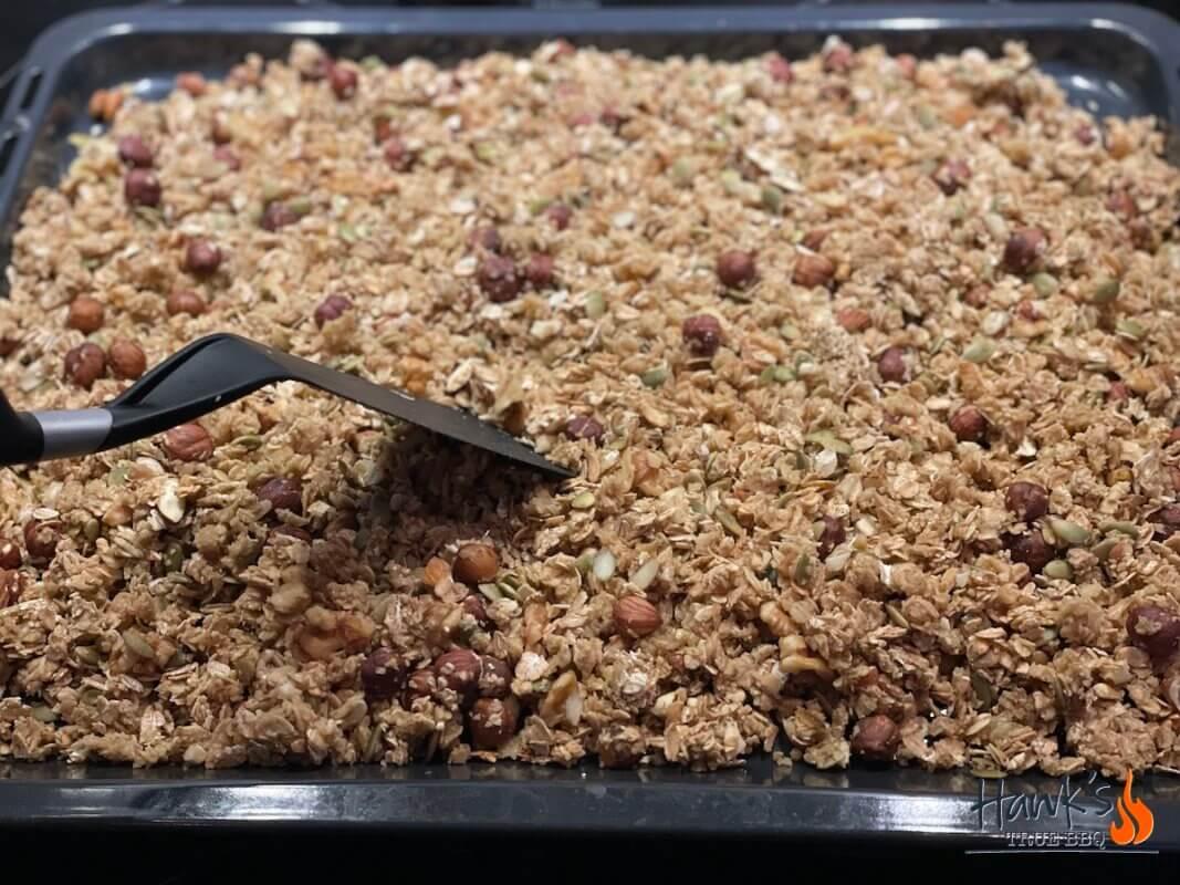 Stir and flip the Granola